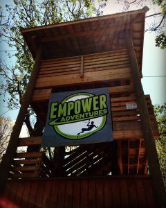 Zipline tower at Empower Adventures. Image source: @ashlicora, Twitter