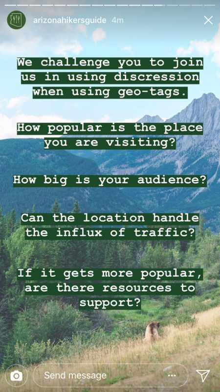 Arizona hikers club Instagram story