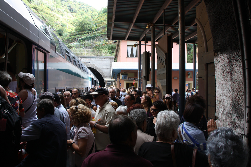 A crowded train in Cinque Terre, Italy.