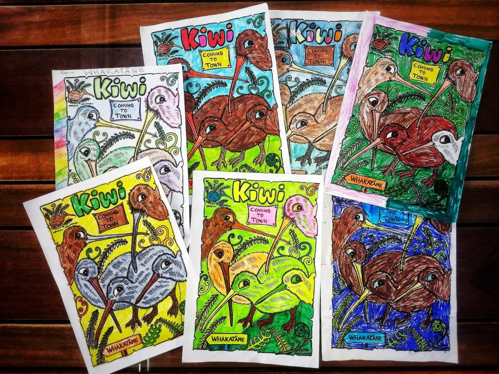 Entries to a kiwi colouring contest.