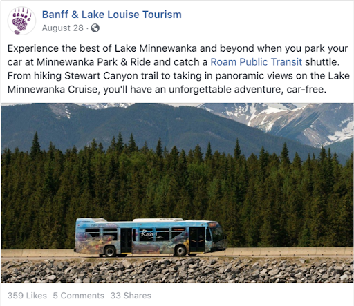 Facebook post - Banff & Lake Louise Tourism