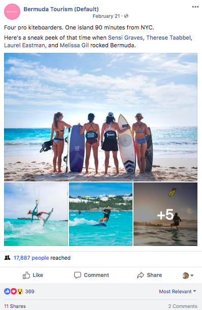 Bermuda kiteboarding Facebook post