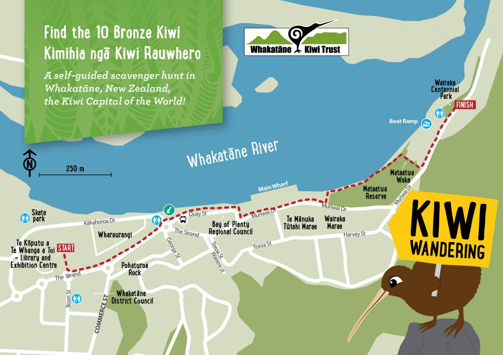 This map of Whakatāne, New Zealand shows the Kiwi Wandering Trail.