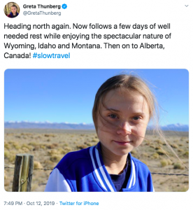 Greta Thunberg #slowtravel tweet