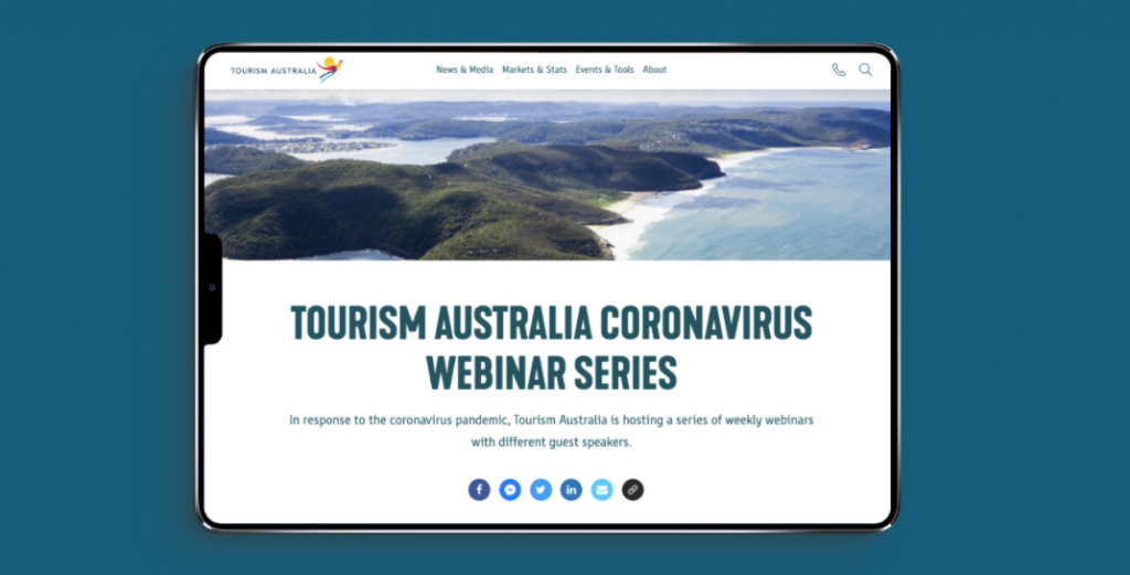 Tourism Australia is showing leadership to their community by hosting regular webinars to support its industry stakeholders.