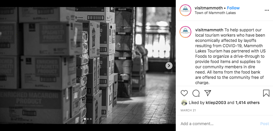 Visit Mammoth's Instagram post in support of the food bank.