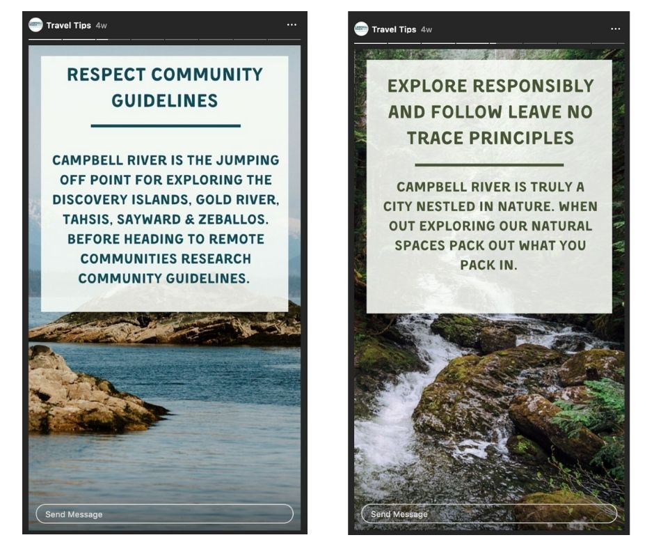 The Travel Tips series created by our team at Destination Campbell River aligns strongly with existing messages of respecting wild spaces and remote communities.