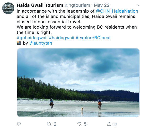 Haida Gwaii Tourism's Twitter feed repeats a clear message paired with different images.