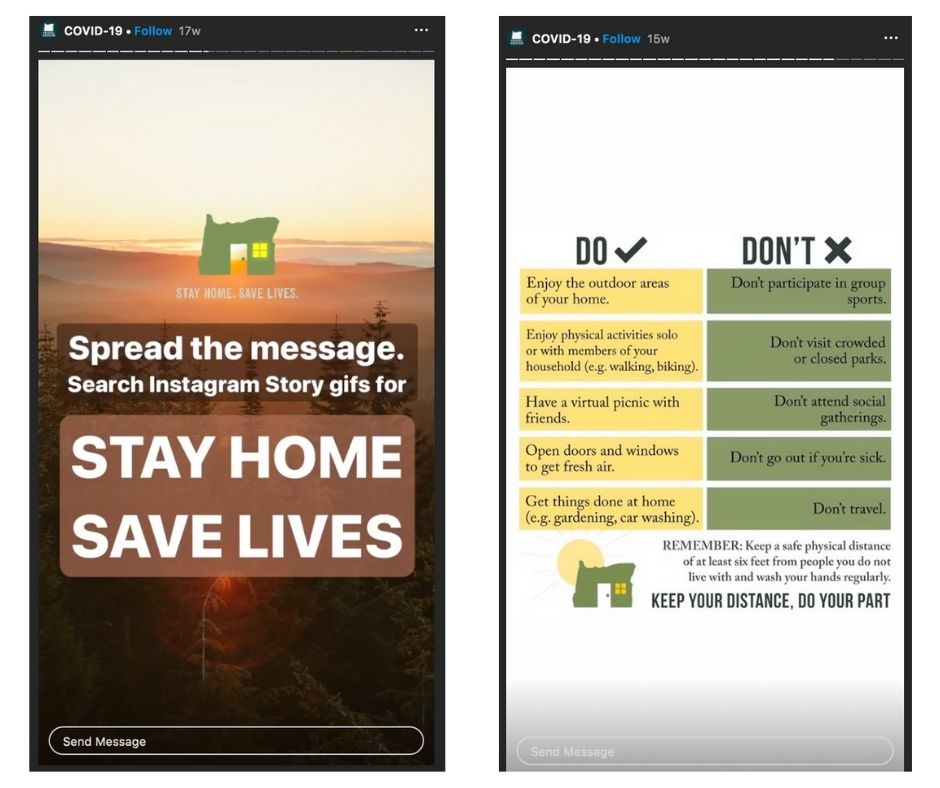 The Travel Oregon 'Stay Home. Save Lives.' GIF allows locals to connect to pride of place and be part of a community effort to encourage safe behaviour. The do's and don'ts checklist is an example of clear, helpful, sharable content.