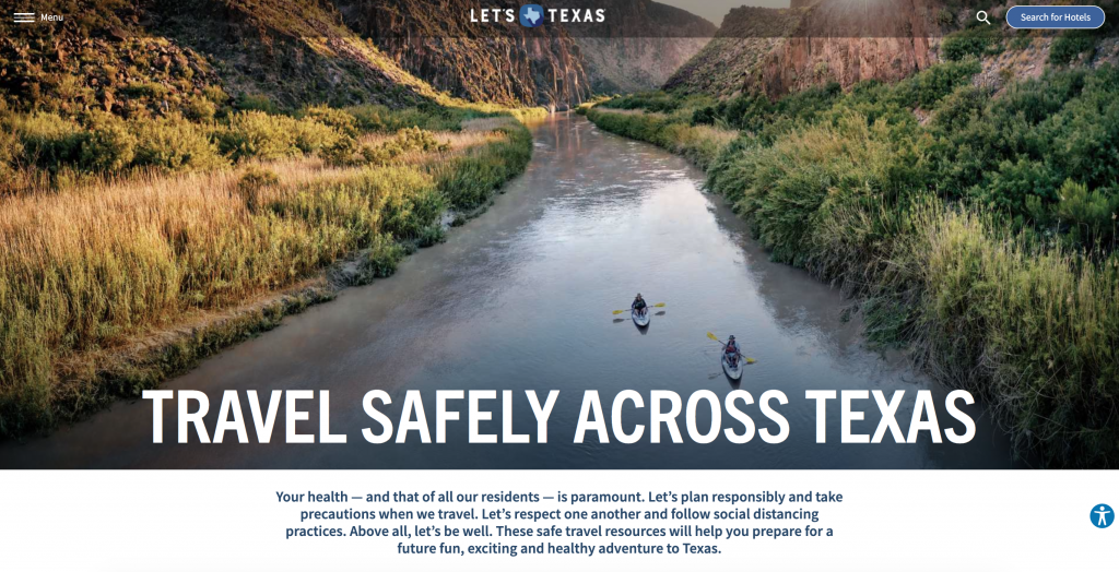 Travel Texas website