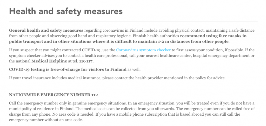 Finland health and safety measures